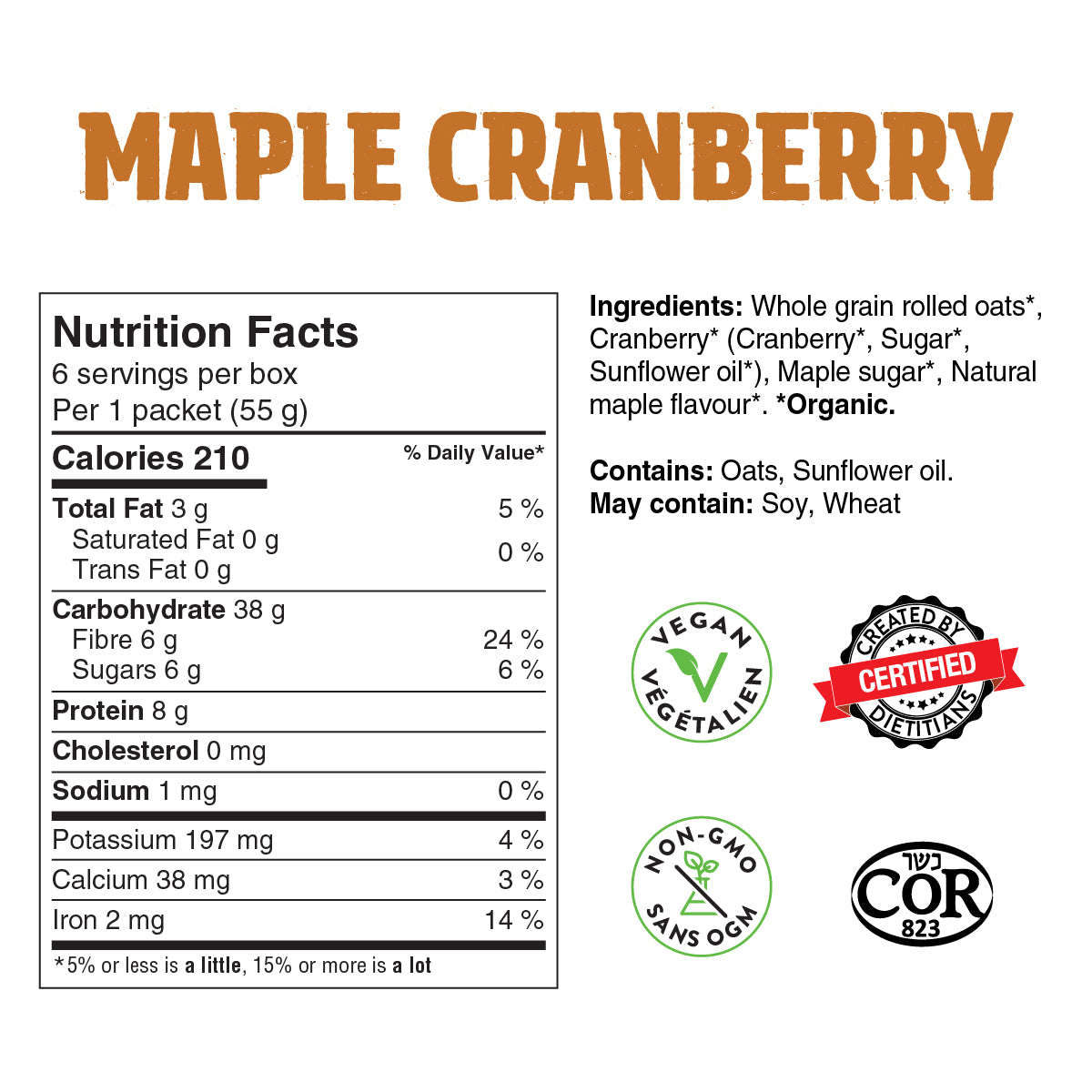 maple cranberry overnight oats nutrition label
