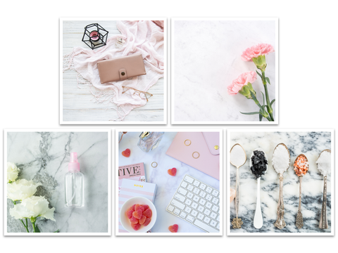 Pink influenced flat lays