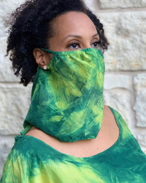Silk Veil face covering green yellow