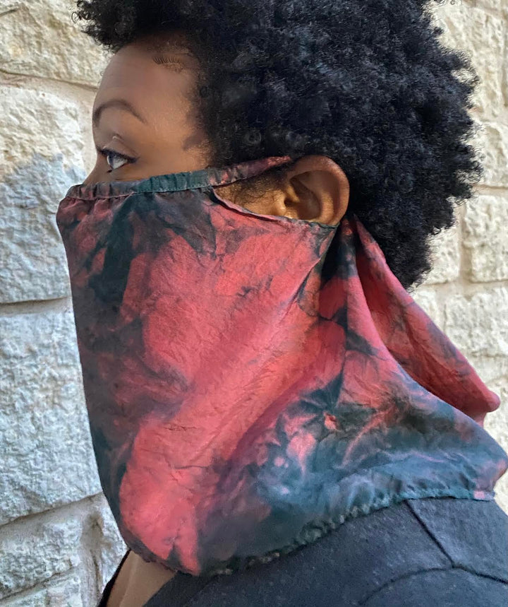 silk veil face covering mask hibiscus