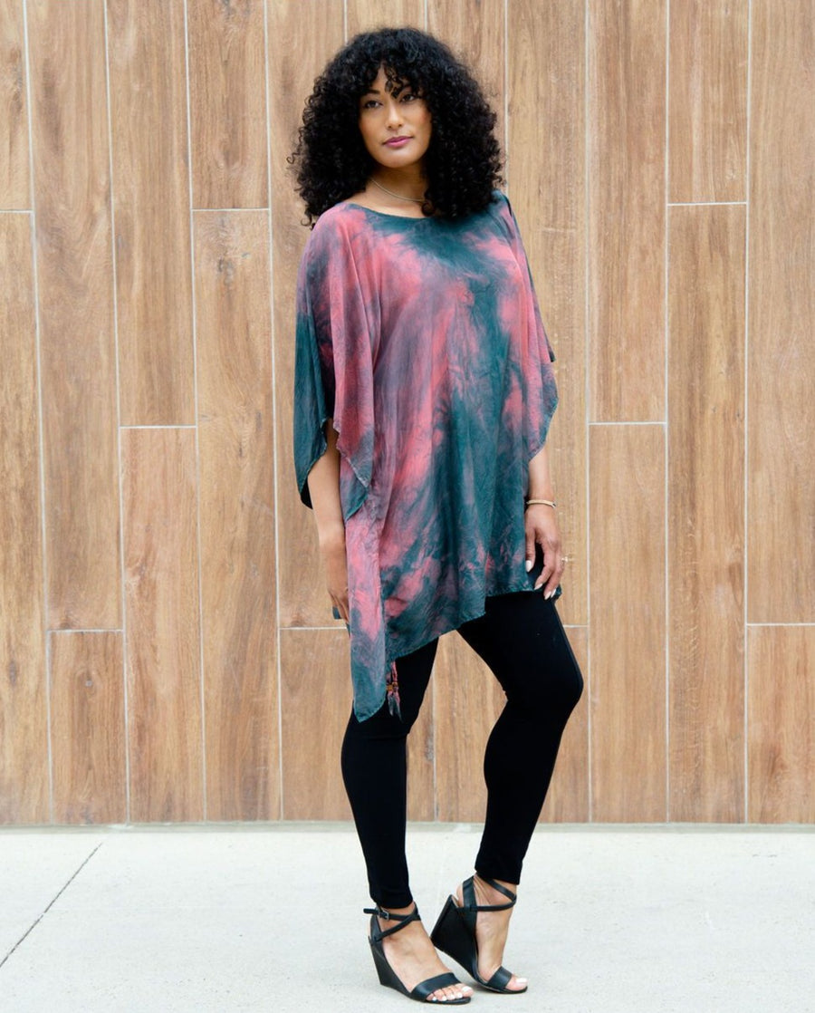 Hibiscus Rosa Silk Mini Kaftan Dress