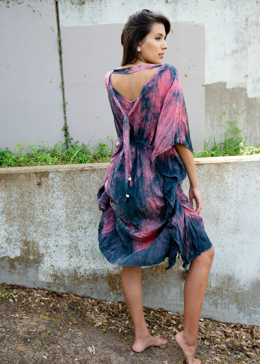 Hibiscus Rosa Silk Midi Kaftan Dress