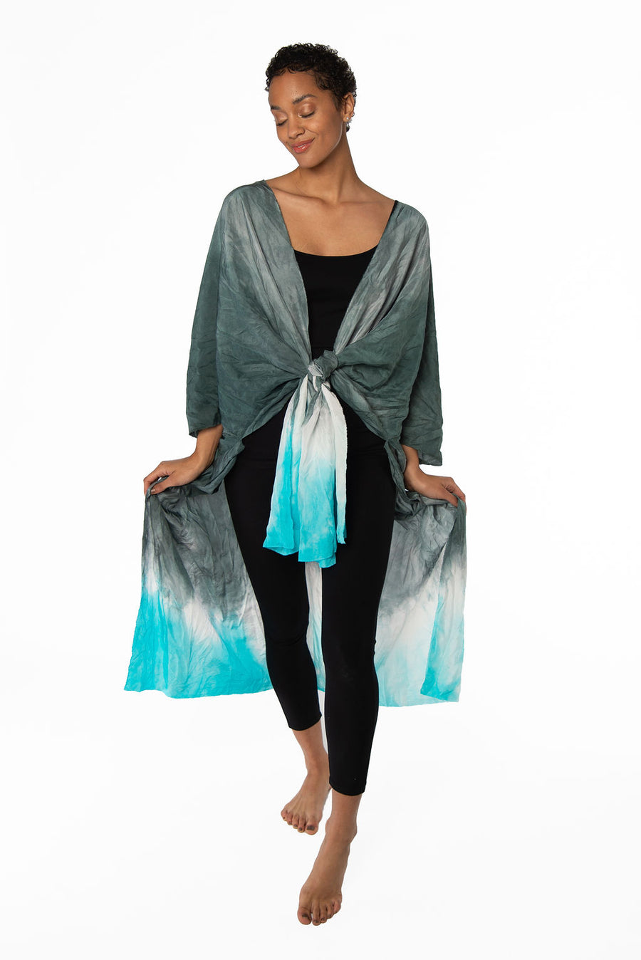 Turquoise Ombre Crinkled Silk Kimono