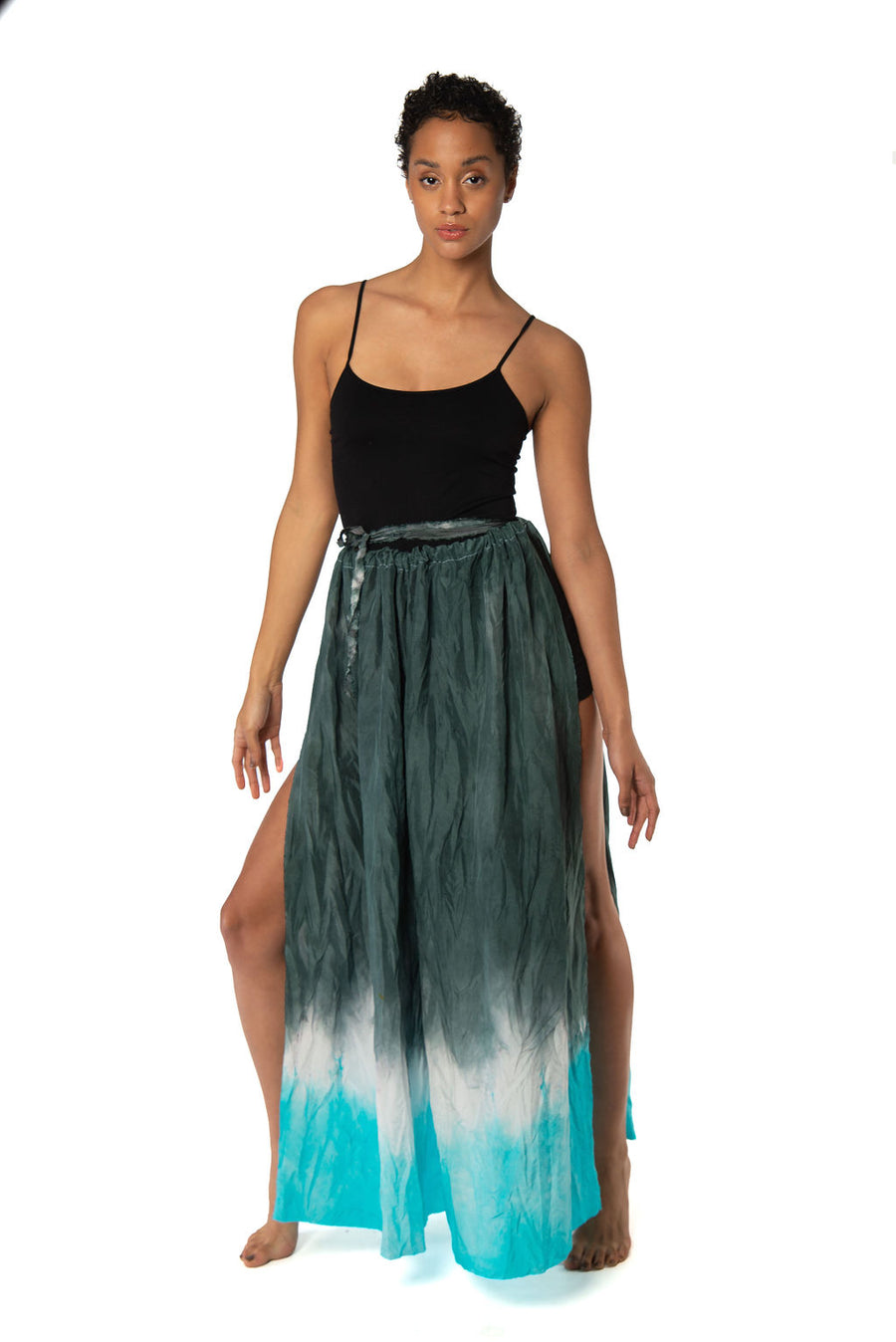 Turquoise Ombre Goddess Wrap Pants