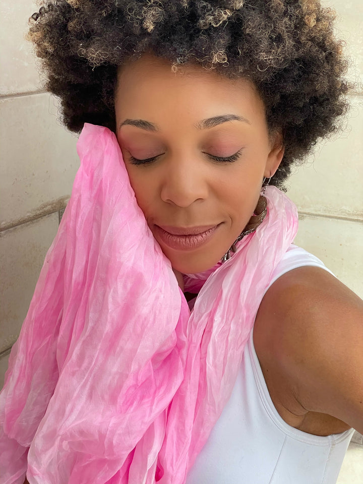 Rose Quartz Crinkled Air-Silk Scarf