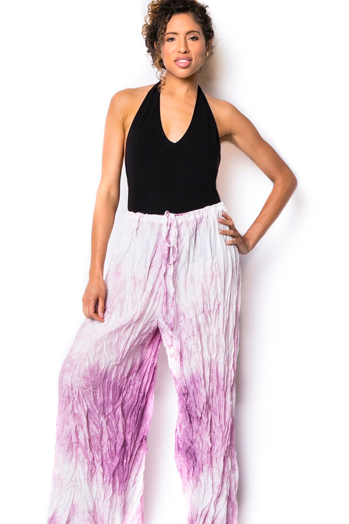 purple crinkled air silk wrap pants