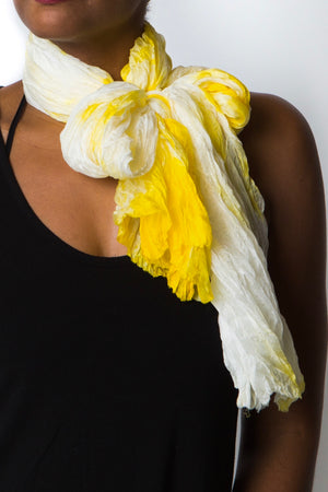Citrine Crinkled Air-Silk Scarf
