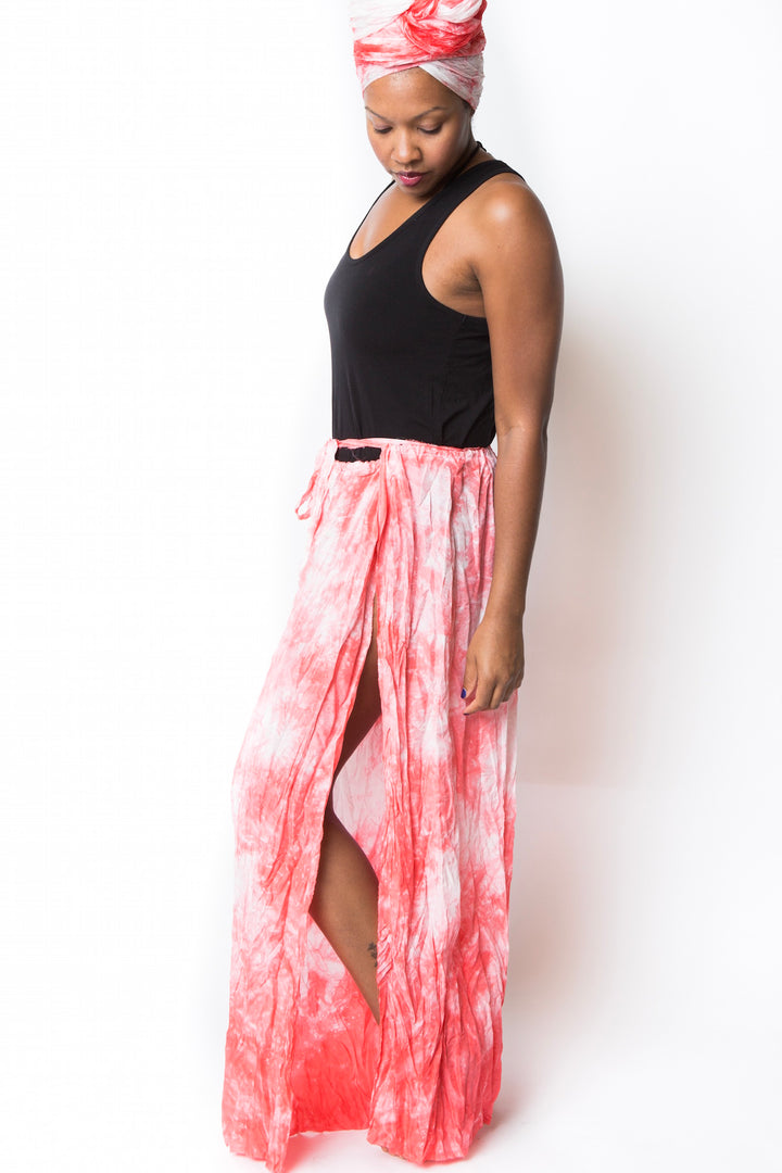 coral crinkled air silk wrap pants