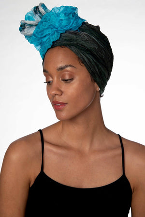 Turquoise Ombre Crinkled Air-Silk Scarf