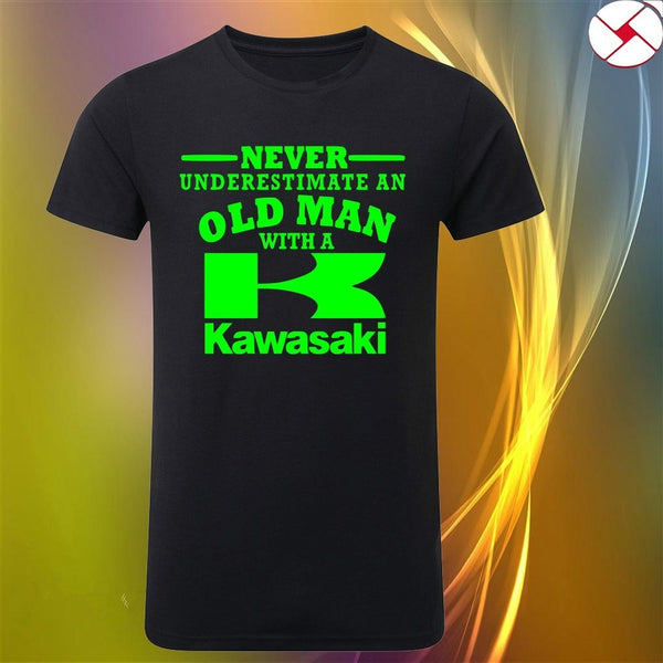 Kawasaki Never Underestimate An Old Man t shirt Black or white text to 3XL V2