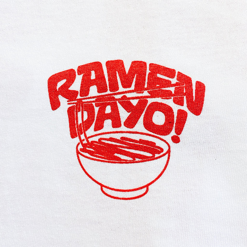 Ramen Dayo! Short Sleeve White T-shirt - Red Print
