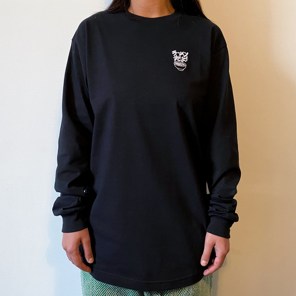 Ramen Dayo! Long Sleeve Black T-shirt - White Embroidered