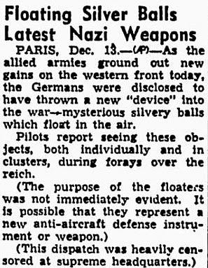 newspaper clipping: floating silver balls latest nazi weapons