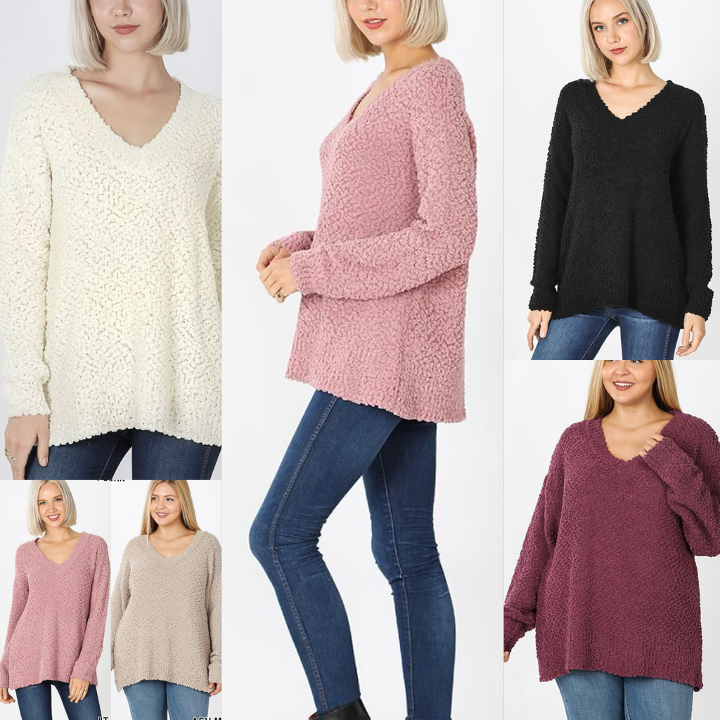 Penelope V-Neck Popcorn Sweater