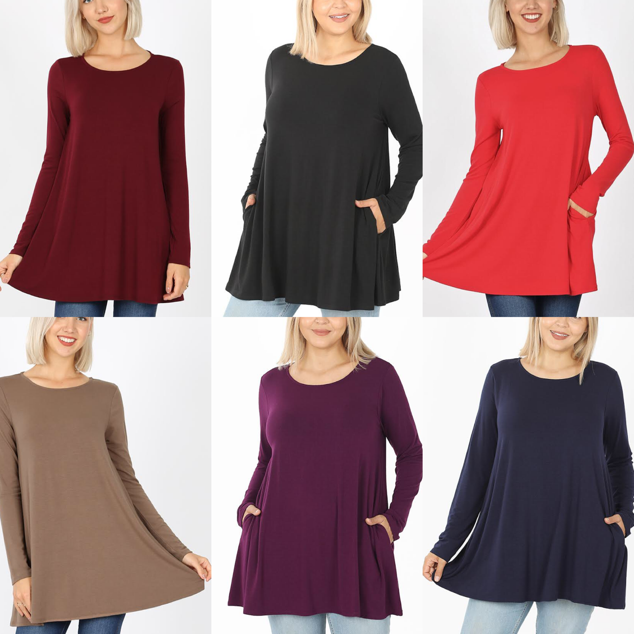 flared tee, long sleeve, solid colors, shirt, clothing, fashion, pockets