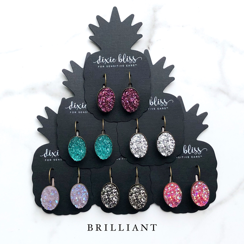 Dixie Bliss Earrings: Brilliant Lever Backs
