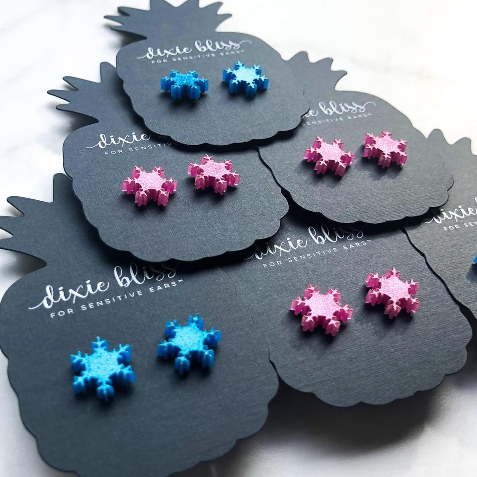 Dixie Bliss Earrings: Holiday Funky Snowflakes