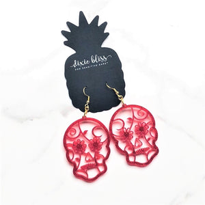 Dixie Bliss Earrings: Halloween Sugar Skull Betty