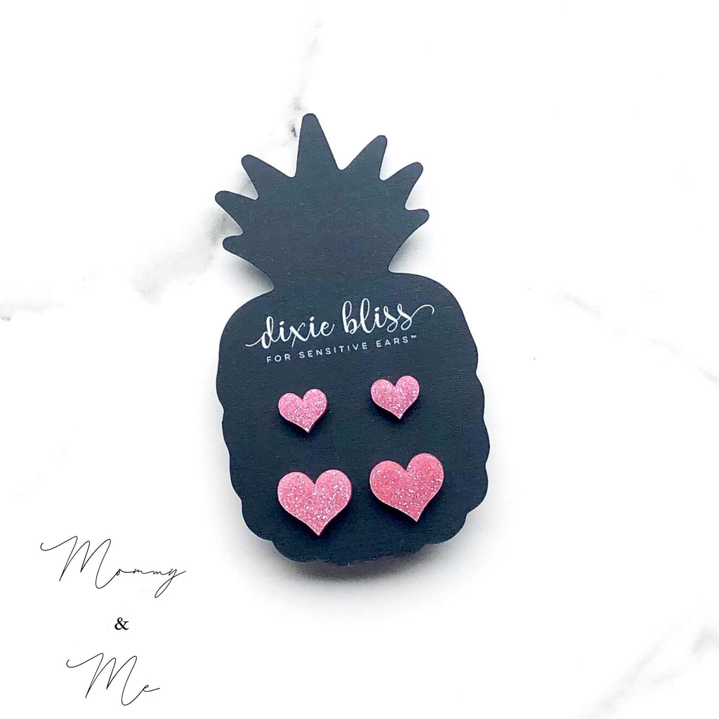 Dixie Bliss Earrings: Love Mommy & Me Hearts Pink