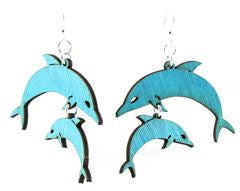 Wooden Dolphin Family Earrings