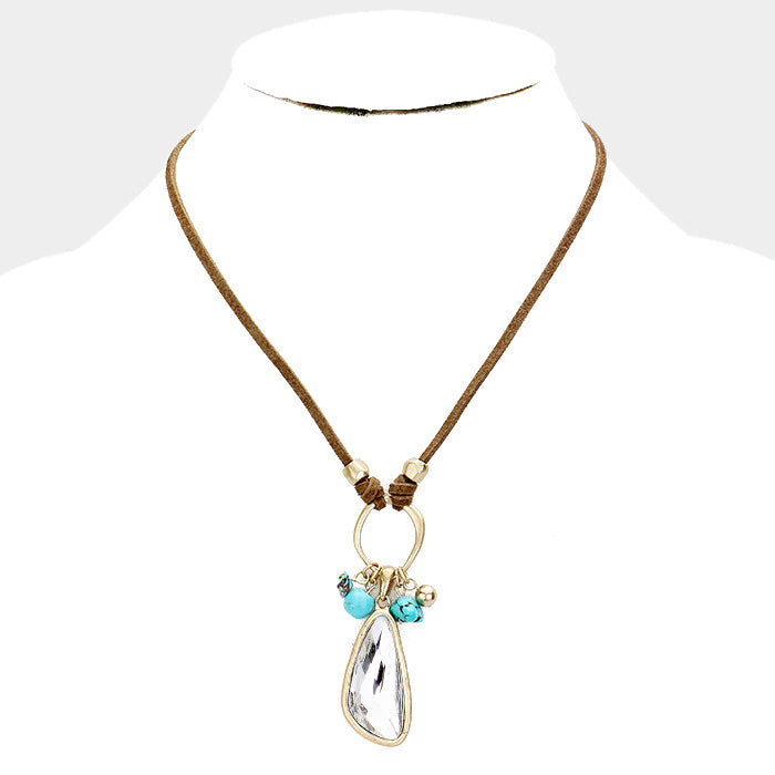 Crystal Bead Turquoise Stone Pendant Necklace |Black or Brown|