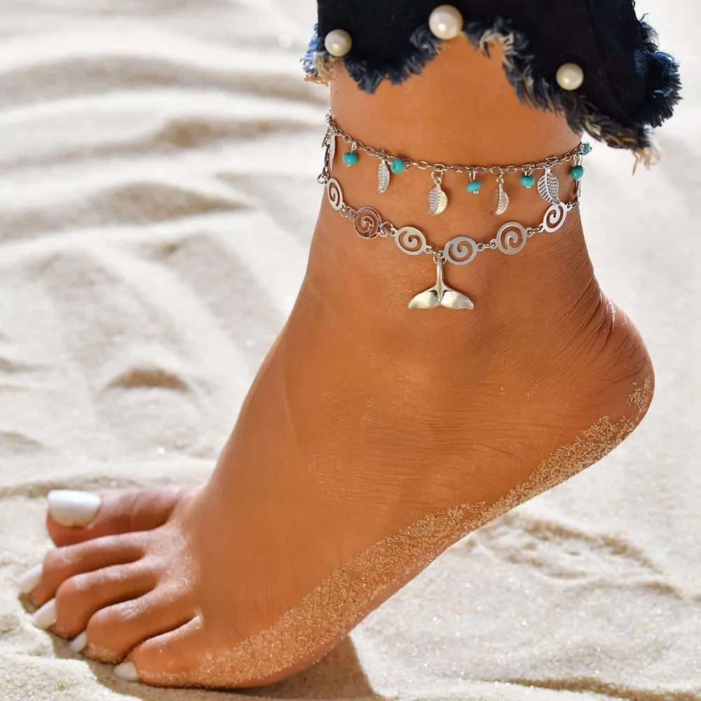 Double Strand Dolphin Tail Anklet