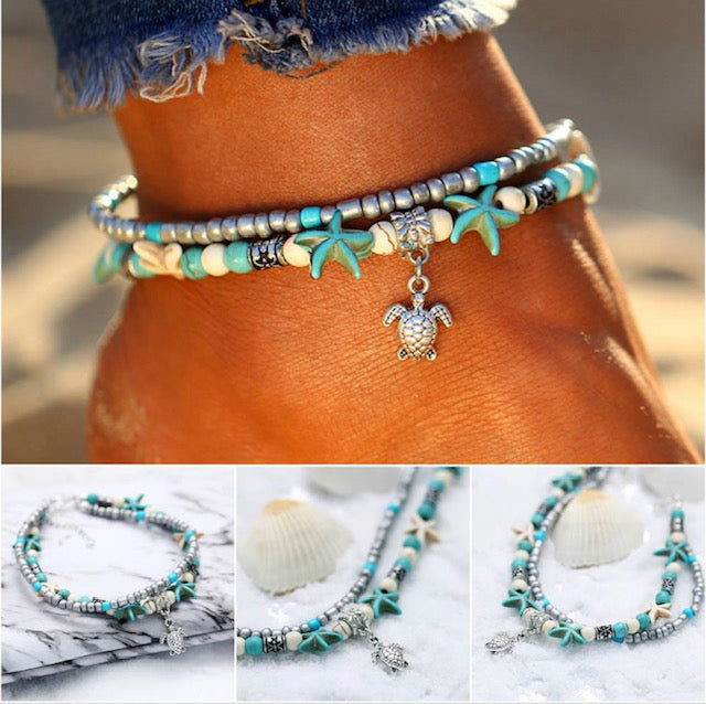 Starfish Turtle Anklet