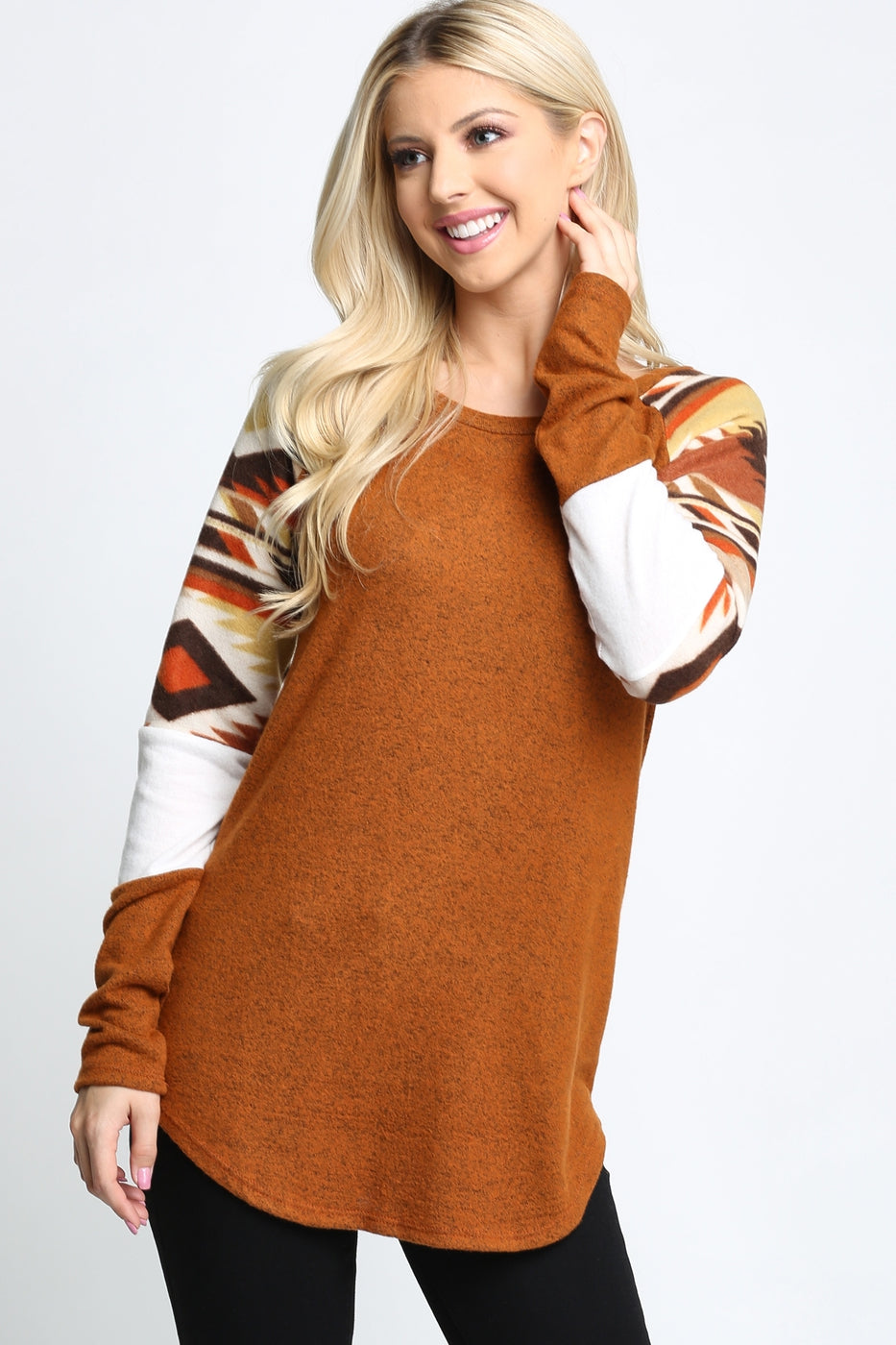 Aztec Fleece LongSleeve Top