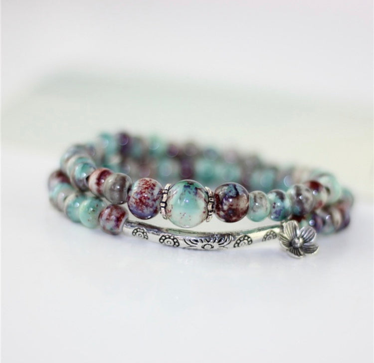Boho Floral Stretch Wrap Bracelet