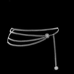Fashion Jewelry Belt || 3-tier silver chain loop