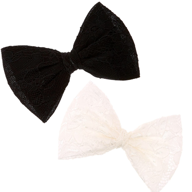 Lace Hair Bow | Black or White |
