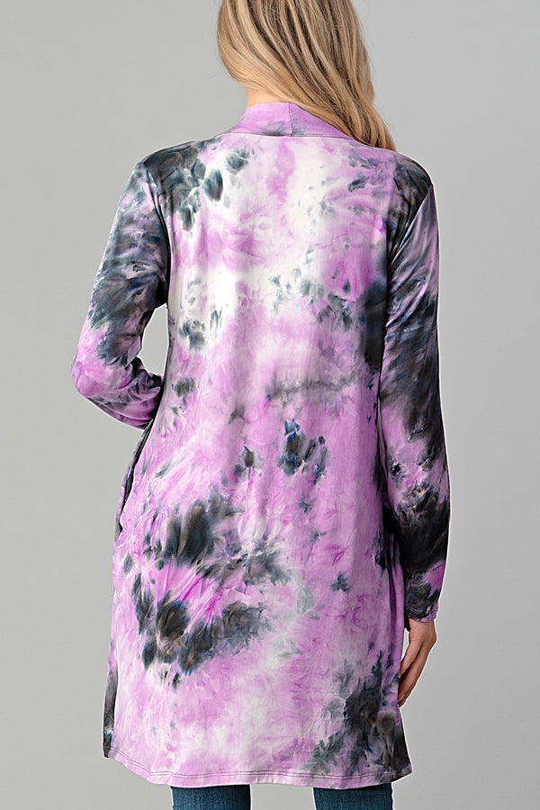 Tie Dye Cardigan with Pockets