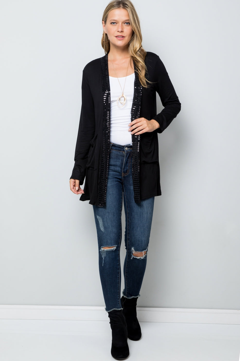 Casual Elegance Black Cardigan with Pockets