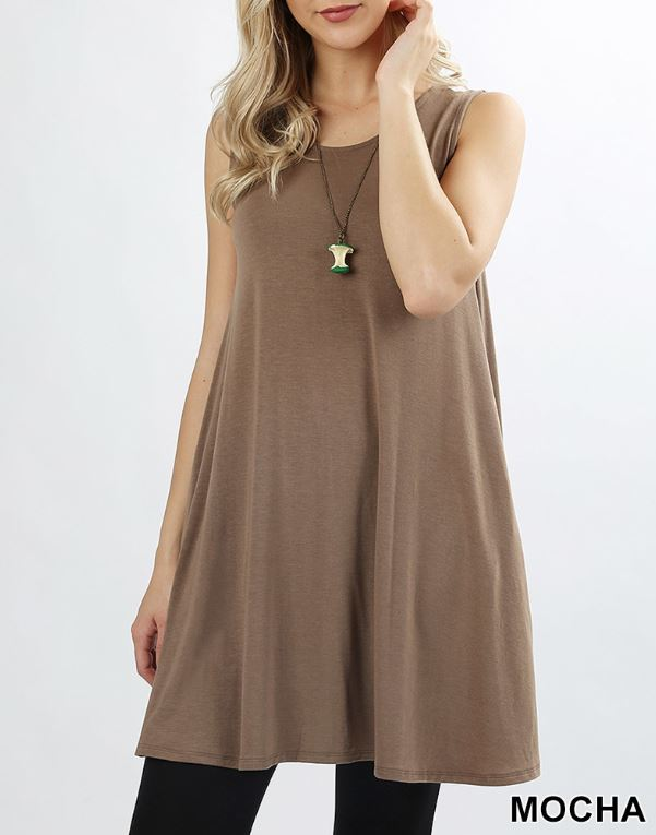 Cinderella Scoop Neck Tunic Tank with Pockets