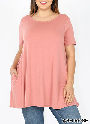 Cindy Boat Neck Flared Top with Pockets