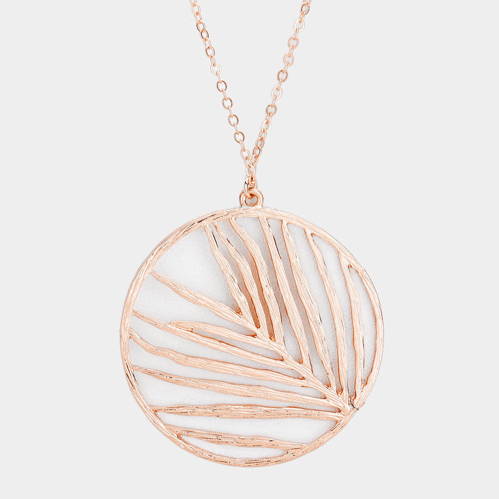 Circle Leaf Necklace |2 colors|
