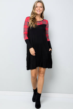Pop of Plaid LongSleeve Dress with Pockets
