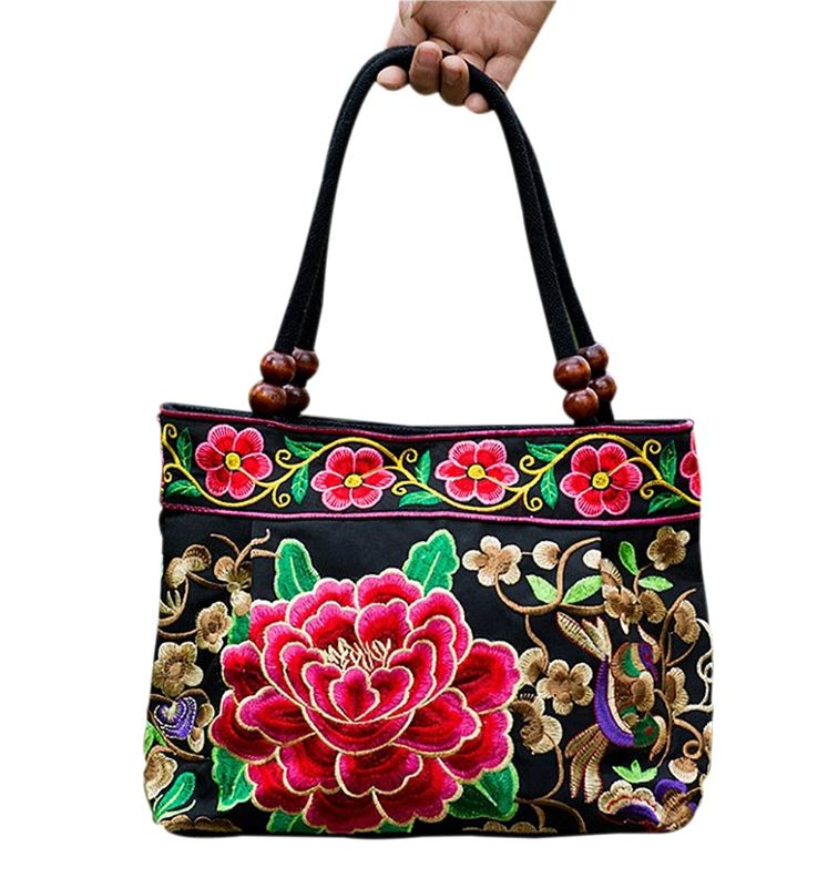 Embroidered Peony Handbag Purse |2 colors|