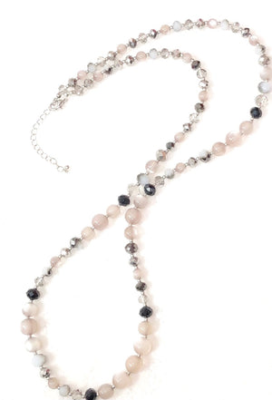 Etched Crystal Bead Necklace