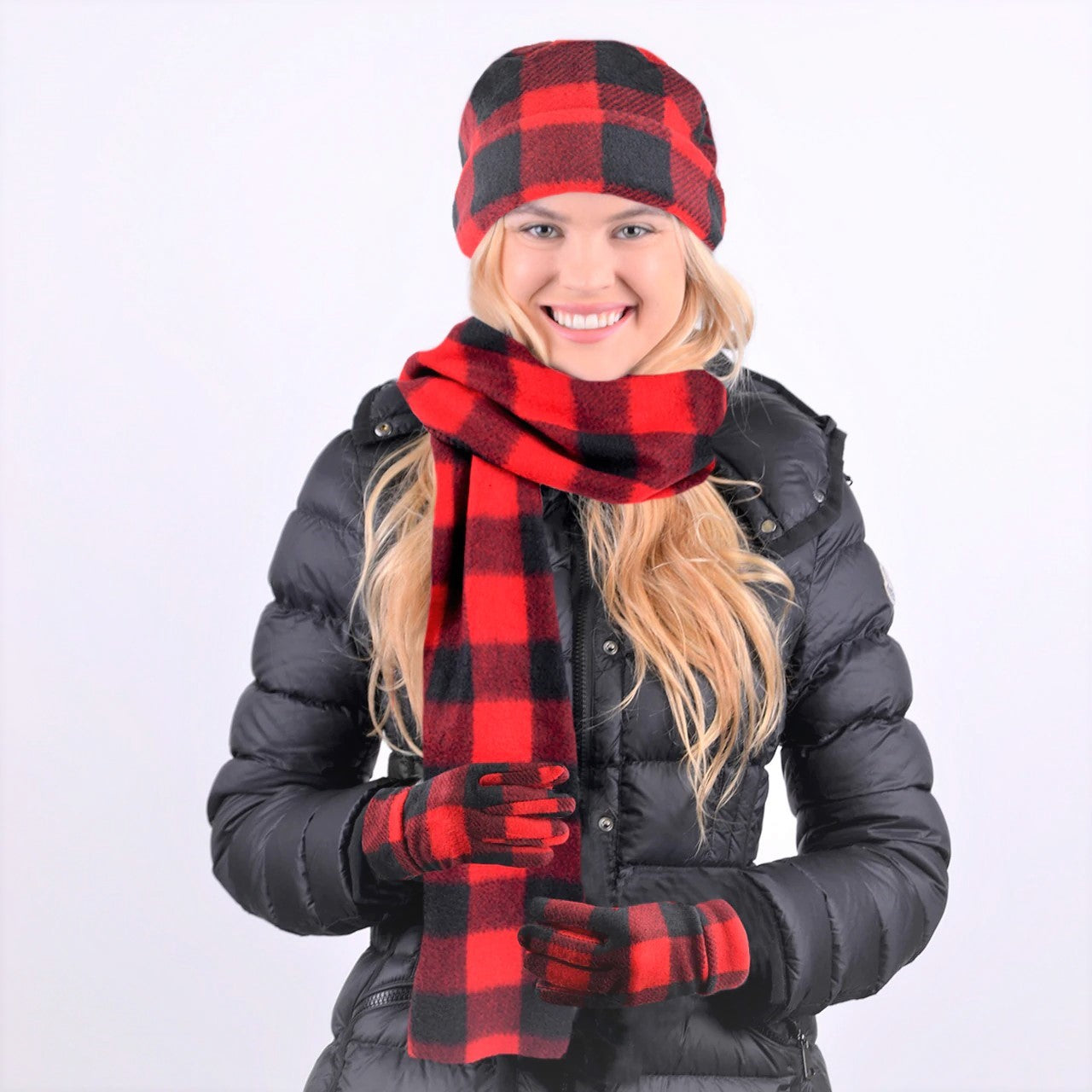 Winter Fleece Pop of Plaid 3-piece Set