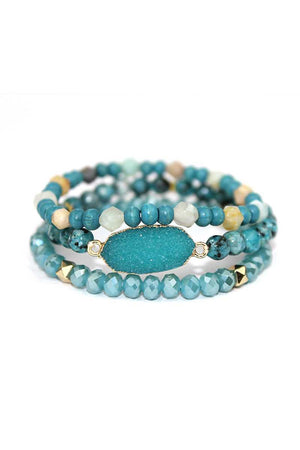 Druzy Trio Bracelet Stack |2 colors|