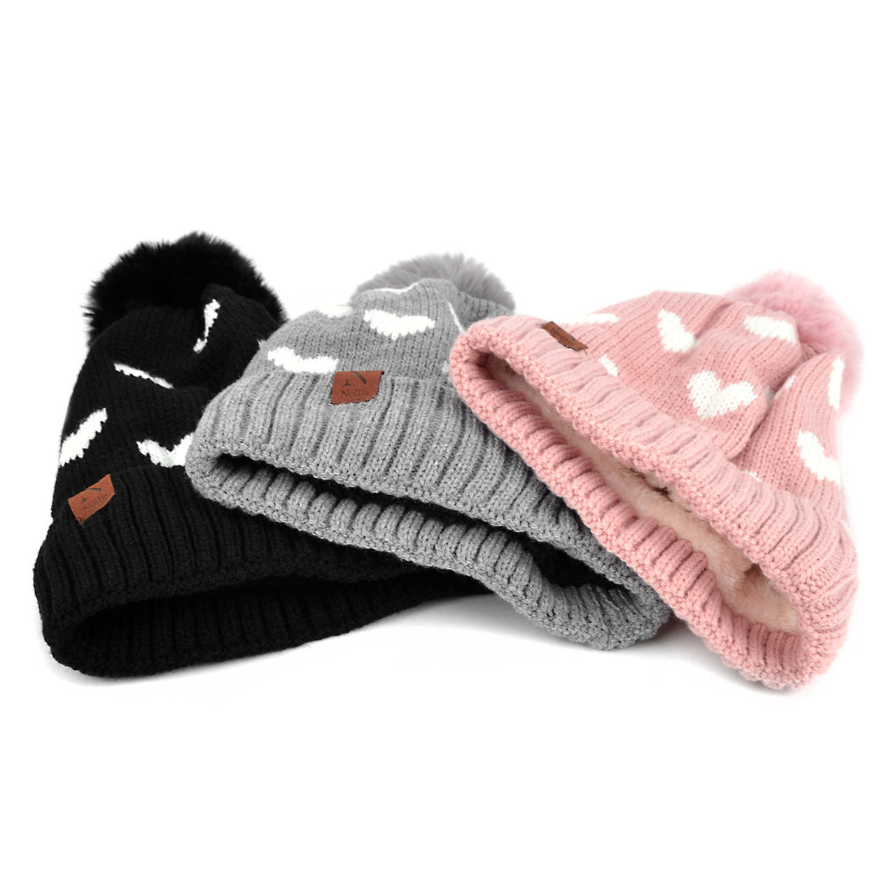 Pom Pom Hearts Winter Fleece Hat