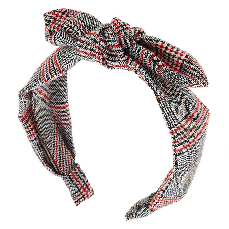 Black, White, & Red Plaid Knotted Headband