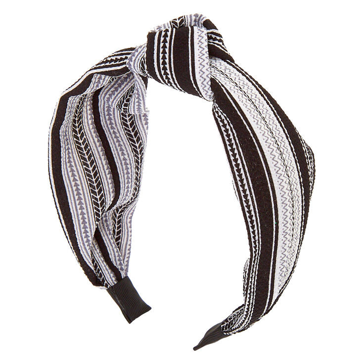 Black & White Crepe Knotted Headband