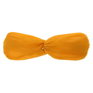 Sunshine Yellow Pleated Headband Wrap