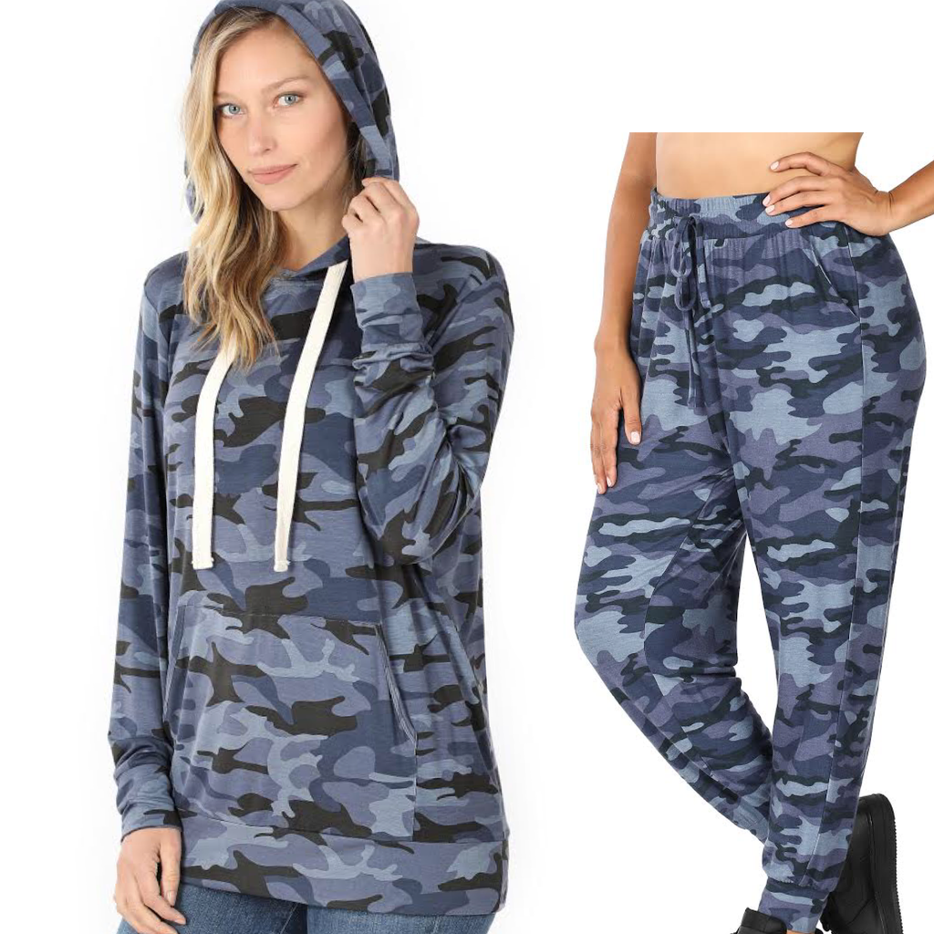 Navy Camo Hoodie & Jogger Separates