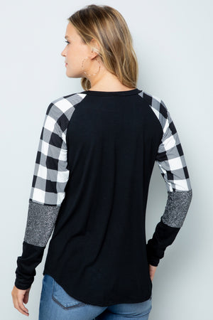 Pop of Plaid LongSleeve Top