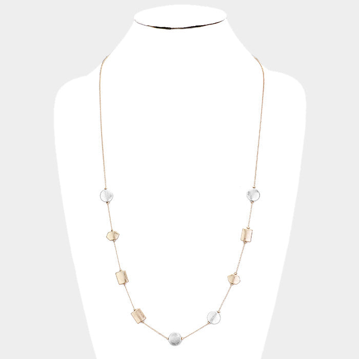 Hammered Geometric Necklace |2 colors|