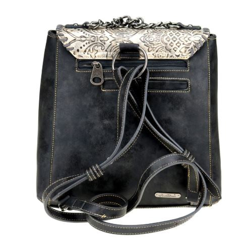 Genuine Leather Floral Embossed Backpack