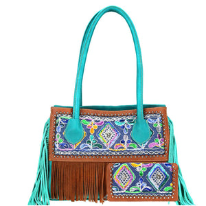 Embroidered Fringe 2-piece Bag Set Brown